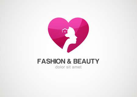 simbolo de la mujer: coraz�n rojo del amor con la mujer, vector logo icono de plantilla.