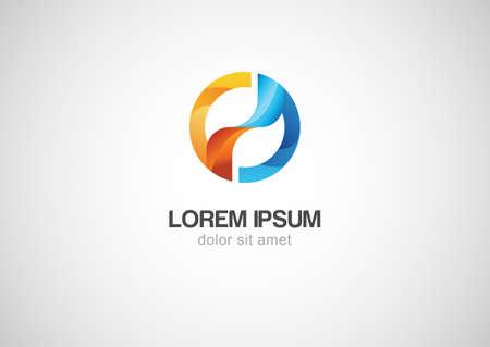 logo circle: Abstract colorful circle wave vector logo template.