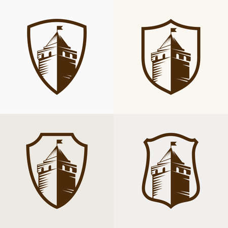 castle: castle fortress on shield, vector icon illustration.