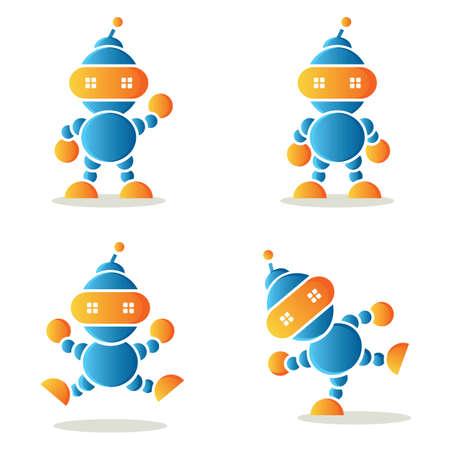 metal legs: set of dancing robots, vector illustration.