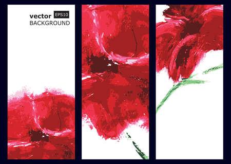 赤いケシの実、油絵。ベクトルの背景。  イラスト・ベクター素材