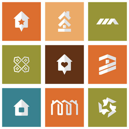 Houses icons set. Real estate.  Vector