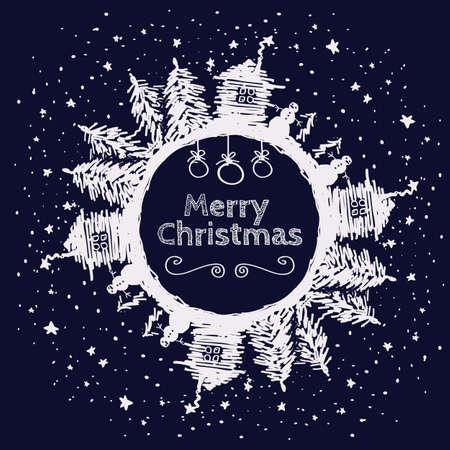 fur tree: disegnata a mano Cartolina di Natale per la progettazione di Natale con l'albero di pelliccia, casa e pupazzo di neve.