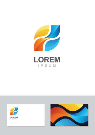 Logo design element with business card template. Vector