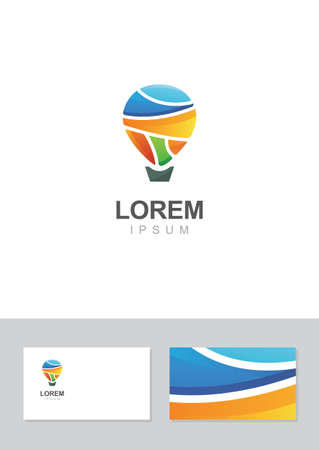 hot air: Hot air balloon icon design element with business card template. Illustration