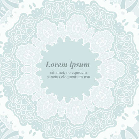 Ornamental round lace frame. Background for celebrations. Vector