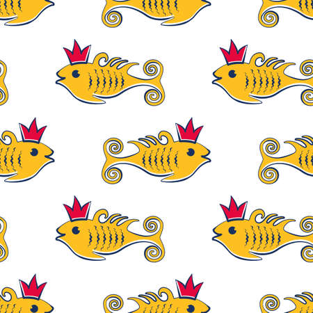 Seamless vetor pattern with fishes in crown. Vector