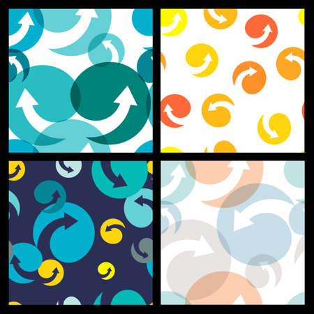 fast forward: Set of seamless colorful patterns. Abstract  arrow and circle.