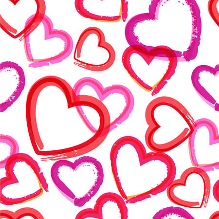 Watercolor hearts seamless pattern.  Vector