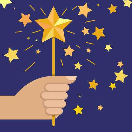 hand holding magic wand with star