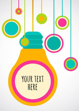 Creative light bulb Idea concept. Vector background, design for flyer or poster.