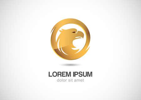 Bird in circle golden frame abstract vector logo design template. Luxury emblem concept icon.