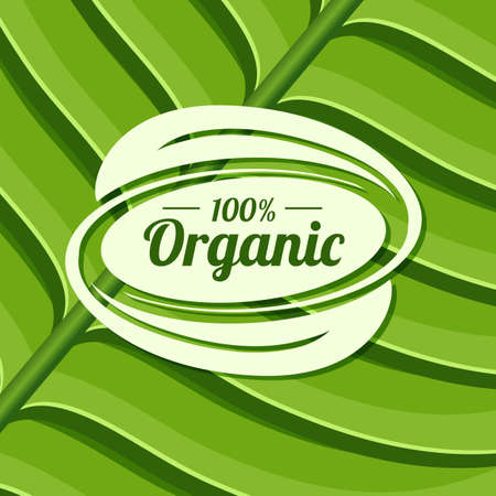 Organic product badge on green leaf texture.  Иллюстрация