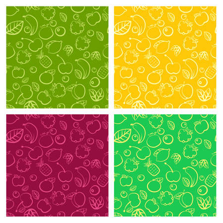 Seamless pattern set with colorful doodle juicy fruits.  Ilustração