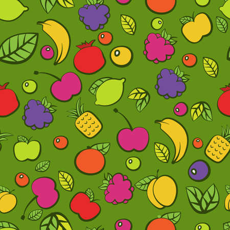 Seamless pattern with colorful doodle juicy fruits.  Ilustração