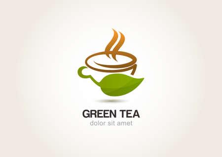 Green tea symbol, natural herbal drink.  Vettoriali