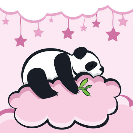 panda bear sleeping on the cloud, vector illustration.