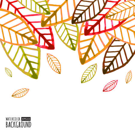 brown background: Watercolor vector background with colorful autumn leaves.