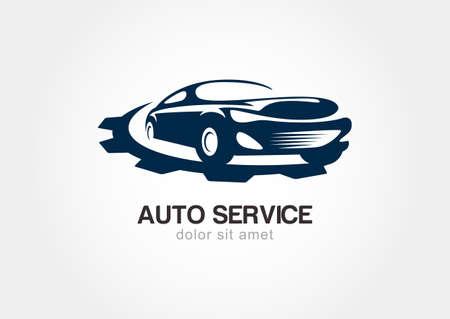 mecanico automotriz: Ilustración del coche de deporte abstracto con engranajes engranajes.