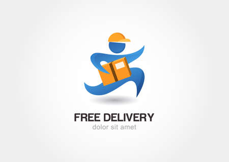 parcel service: Running man with postal box. Courier with parcel. Delivery themes vector design template.