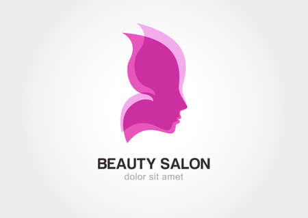 beauty salon: Womans face in butterfly wings. Abstract design concept for beauty salon.