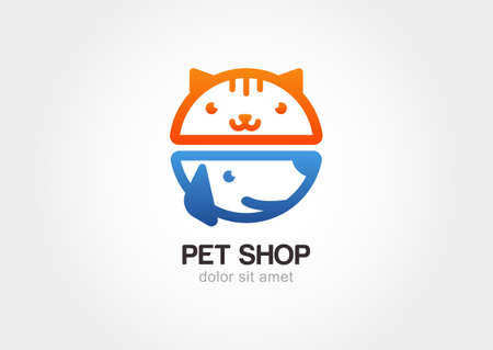 Abstract design concept for pet shop or veterinary. Dog and cat symbol. Vector logo template. Иллюстрация