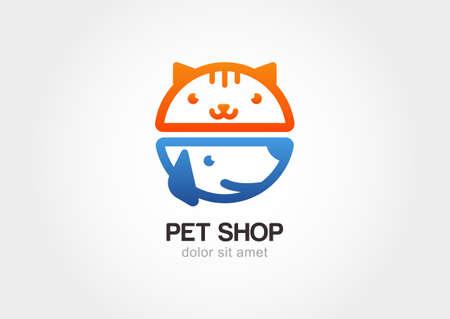 veterinaria: Concepto de diseño abstracto para tienda de animales o veterinaria. Perro y gato símbolo. Vector insignia de la plantilla.