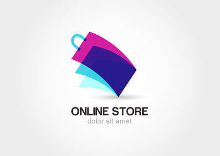 shopping bag icon: Abstract design concept for online store. Colorful shopping bag symbol. Vector logo template.