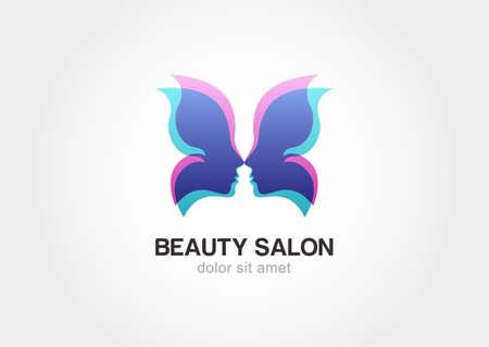 beauty wellness: Gezicht van de vrouw in vlindervleugels. Abstract ontwerp concept voor schoonheidssalon. Vector logo template.