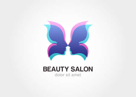 Woman's face in butterfly wings. Abstract design concept for beauty salon. Vector logo template. Çizim