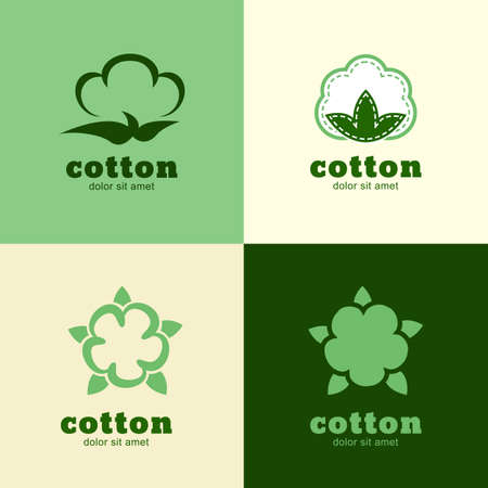 cotton wool: Floral template, cotton and wool clothes. Abstract design concept for natural product. Vector icon set.