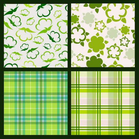 cotton plant: Cotton plant floral and green plaid background. Vector seamless pattern set.
