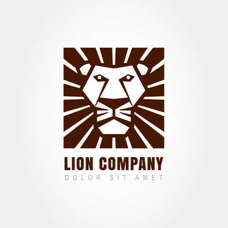 head of animal: Lion head logo template, symbol of strength, power, guard and security. Abstract design concept for business. Vector illustration. Illustration