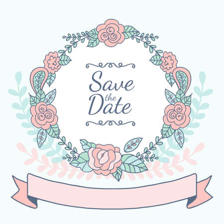 rose frame: Decorative floral frame with pink roses and leaves. Wedding, birthday or save the date greeting card. Vector illustration. Illustration