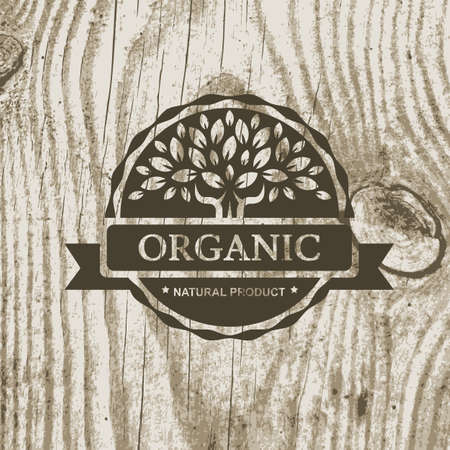 and organic: Organic product badge with tree on wooden texture. Vector illustration background.