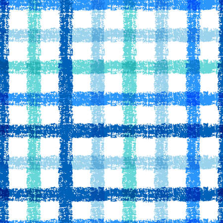 Seamless pencil sketch plaid pattern with colorful stripes. Vector background. Vector
