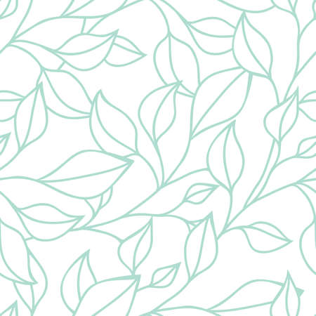 Floral seamless pattern with green leaf. Vector background. Illustration
