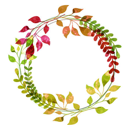 Watercolor wreath from colorful autumn leaves. Vector illustration. Thanksgiving greeting card template. Иллюстрация