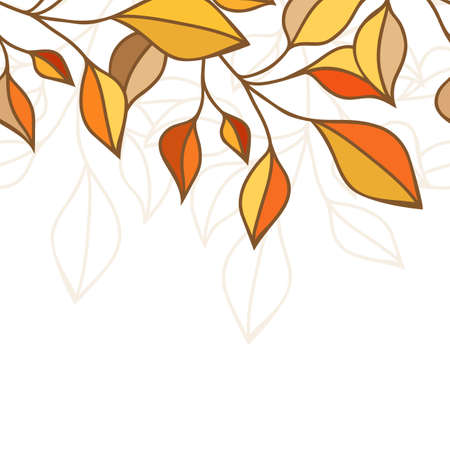 Colorful autumn leaves seamless pattern. Vector illustration. Greeting card, banner, flyer background.