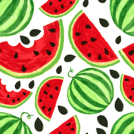 Watercolor watermelon slices, seamless background. Vector illustration.