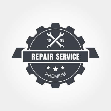 Vintage style car repair service label.