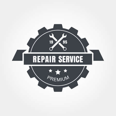 car service: Vintage style car repair service label.