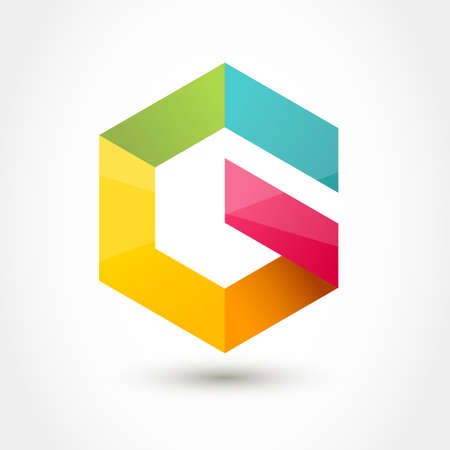 letter g: Colorful hexagon infinity loop shape, business technology abstract symbol. Letter G icon. Illustration