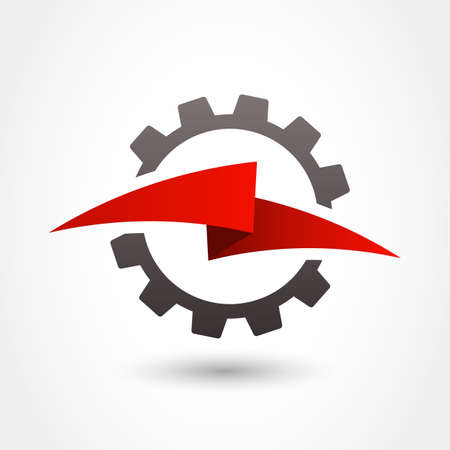 cogs and gears: Vector design template. Gear and lightning shape, business technology abstract symbol.
