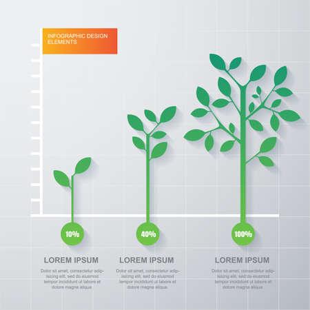 녹색 나무와 식물 다이어그램 infographics입니다 템플릿입니다.
