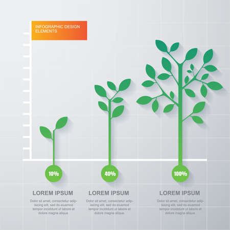 growth business: Green tree and plant diagram infographics template. Illustration