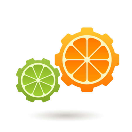 gear shape: Orange and lime gear shape, business technology, ecology, organic product abstract symbol.