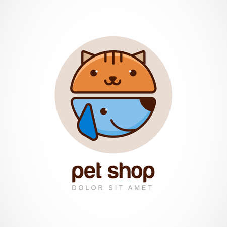 kitten cartoon: Abstract design concept for pet shop or veterinary.  Illustration