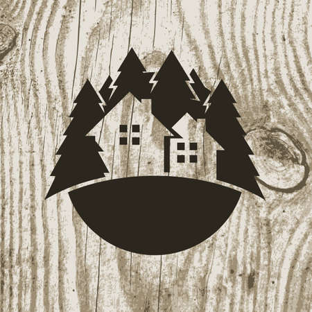 Vintage styled eco house badge with tree on wooden texture background. Vector logo design template.  Design concept for real estate agencies, hotels, cottages rent