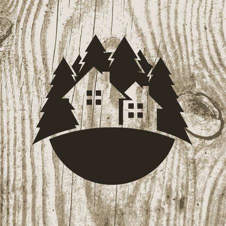logotipo de construccion: Vintage insignia casa ecológica de estilo con el árbol en la textura de madera de fondo. Vector logo plantilla de diseño. Concepto de diseño para las agencias de bienes raíces, hoteles, cabañas de alquiler